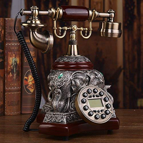 Wghz Telephony European Antique Telephone, Retro Dong Office, Home Phone, American Garden, Fashion, Originality, Fixed Craft Telephone,Backlight Hands-Free Version (Ivory Tower) Rope