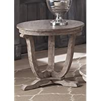 Liberty Furniture 154-OT1020 Greystone Mill End Table, 24 x 24 x 24, Stone White Wash Finish with Wire Brushed