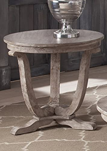 Liberty Furniture INDUSTRIES 154-OT1020 Greystone Mill End Table, 24 x 24 x 24 , Stone White Wash Finish with Wire Brushed