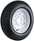 Kenda Loadstar (12x4/5x4.5) Custom Spoke Wheel with White Powder-Coat Pinstripe Finish LRB and Trailer Tire Assembly (530-12)