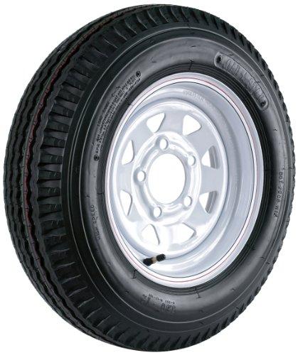 Kenda Loadstar (12x4/5x4.5) Custom Spoke Wheel with White Powder-Coat Pinstripe Finish LRB and Trailer Tire Assembly (530-12) by Kenda
