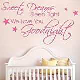 goodnight sleep tight chart - kiskistonite Sweet Dreams, Sleep Tight We Love You Goodnight Wall Art Sticker Quote Nursery Decal Baby Kids Decor Decoration For Living Room Bedroom