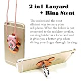 AccessoryHappy Mickey Ear 2 in 1 Phone Lanyard & Ring Stent, Cell Phone Tether Neck Strap Holder Ring Stent Kickstand for iPhone 5 6 6S 7 8 8 Plus Galaxy S7 and Other Mobile Phones (Rose Gold)