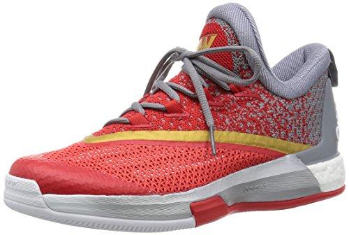 adidas Crazylight Boost 2.5 Low, Scarpe da Basket Uomo Bianco / Grigio / Rosso (Ftwbla / Grigio / Rojint)