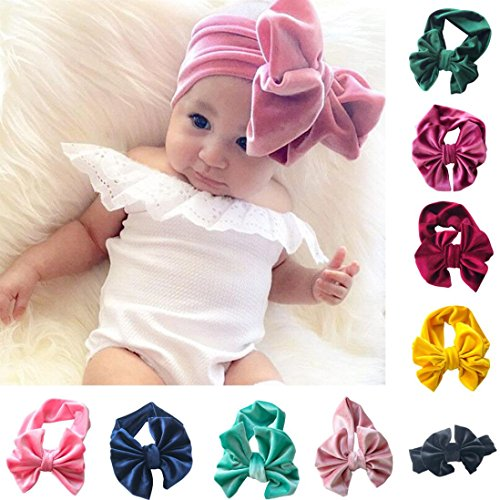 Sunbona Headband Baby,Toddler Girls Bowknot Turban Velvet Head Wrap Hair Bands Photography Props Hairband (Pink) by Sunbona (Image #3)