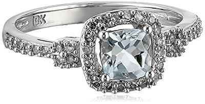 10k White Gold Aquamarine and Diamond (0.2cttw, G-H Color, I1-I2 Clarity) Cushion Cut Ring