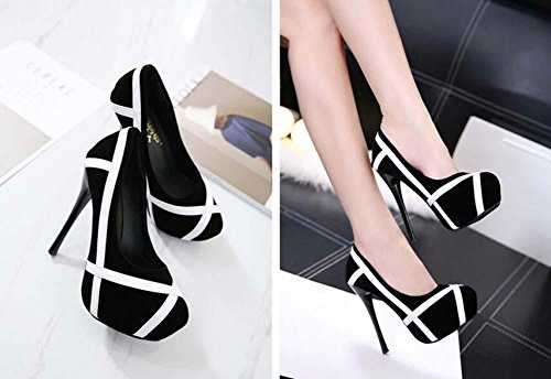 Black Onfly Platform Shoes Pump Charming Ol Comfortable Court Shoes Waterproof Heeled Black Stripe White Women's Thick Work 13cm Stiletto And High rrRCExw4Tq