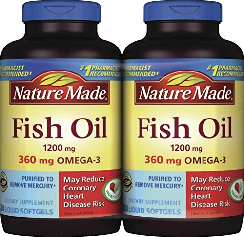 Nature Made Fish Oil Liquid Softgels, 1200 mg with Omega-3 360 mg, 2 pk/200 Count (400 Count Total)