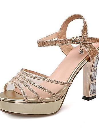 7e4ee15f02c968 Chaussures Femme-Mariage / Habillé / Soirée & Evénement-Rouge / Argent /  Or-Gros Talon-Bout Ouvert / A ...