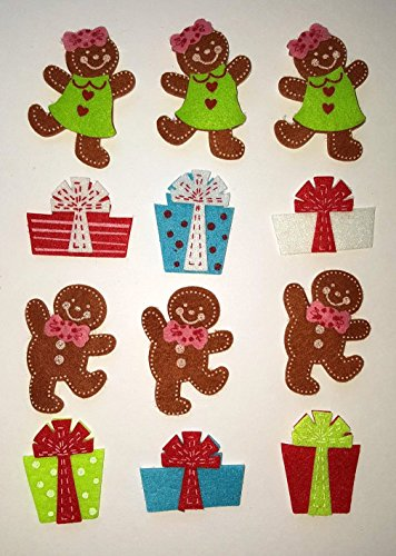 104 Felt Christmas Presents and Gingerbread Peel-and-Stick Stickers