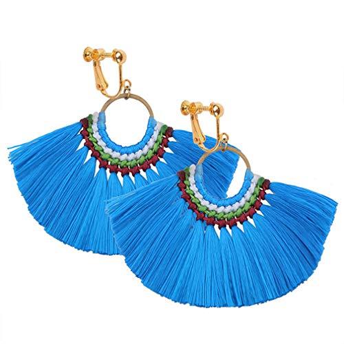 Tassel Clip on Earrings Bohemian Dangle Drop Fringe Thread Women Statement Ethnic Vintage Blue Eardrop