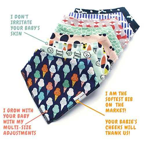 Premium Bandana Bibs for Boys Extra Soft - 8-Pack Baby Boy Drool Bib for Drooling and Teething, Natural Cotton, Hypoallergenic, Organic, Super Absorbent, Bandanas for Infant Boys Girls Toddler, Unisex by BebeTales (Image #1)