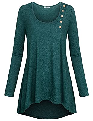 SeSe Code Women's Casual Basic Kint Shirts Loose Fit Long Sleeve High Low Hem Tunic Tops