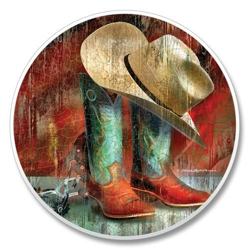 - Western Cowboy Hat Boots Hang On For The Ride, Single Coaster for Your Car