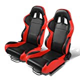 Set of 2 Universal Type-R PVC Leather Reclinable Racing Seats w/ Sliders (Black Center/Red Side)