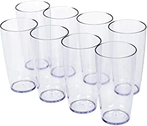 Klickpick Home 18 Ounce - 8 Piece Premium Quality Acrylic Plastic Beverage Tumblers Reusable Drinking Cups Dishwasher Safe