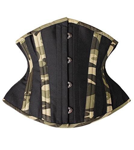 SHAPERX Camellias Women Short Torso Curvy Waist Heavy Duty Double Steel Boned Underbust Waist Trainer Corsets, SZ7093-Green-S