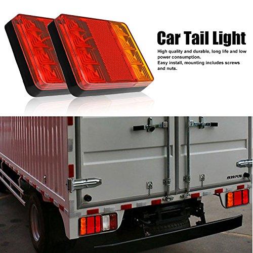 Fydun Fari Posteriori a Doppio Colore per Camion Rimorchio a LED Luce Impermeabile Indicatore di Direzione Fanale Posteriore