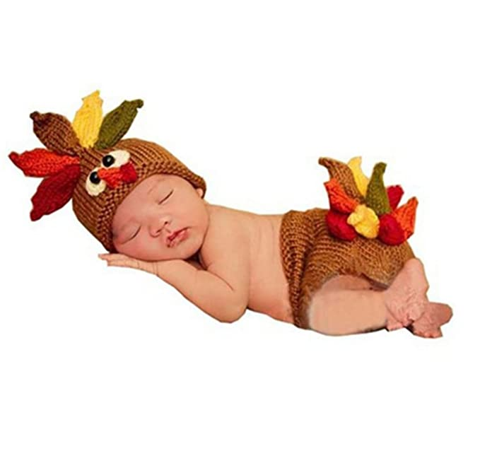 7781f4b42bf45 Ufraky Baby Turkey Knitted Crochet Costume Hat Caps Diaper Photography Prop