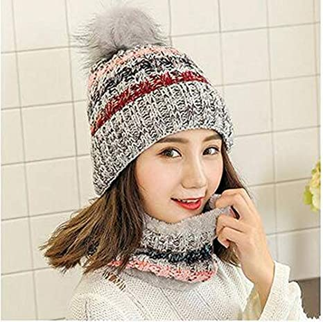 Amazon.com   Woman Knit Beanie Hat and Scarf Set Hairball Pom Pom Hats  Female Thick Hat 2pcs Winter Warm Cute Girls Fashion Cap Collar Suit (Gray  Scarf Hat) ... dbe493dd2b7