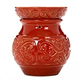 Hosley 6'' High Red Ceramic Electric Candle Warmer. Ideal gift for wedding, spa and aromatherapy. Use with brand wax melts/cubes, essential oils and fragrance oils.
