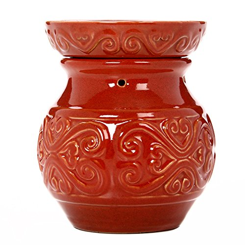 Hosley 6' High Red Ceramic Electric Candle Warmer. Ideal gift for wedding, spa and aromatherapy. Use with HOSLEY brand wax melts / cubes, essential oils and fragrance oils.