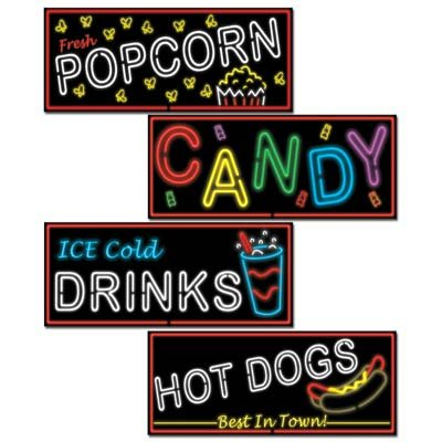 Neon Food Sign Cutouts   4/Pkg