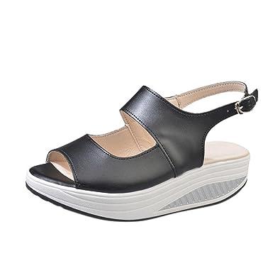 355de1666b69 Lolittas Summer Beach Leather Wedge Sandals for Women Ladies