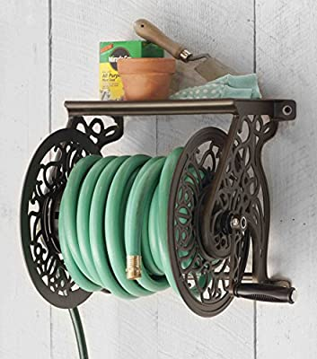 Liberty Garden Products 704 Decorative Cast Aluminum Wall Mount Garden Hose Reel, Holds 125-Feet of 5/8-Inch Hose - Bronze