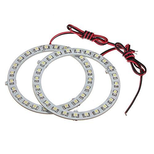 HITSAN INCORPORATION Pair 80mm 12V White Angel Eyes Lights Headlight for BMW 24SMD LED Ring Car Light