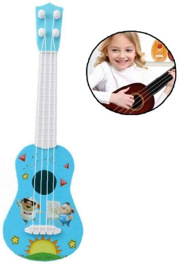 ZCHD Simulation Pig Ukulele Guitar Plastic Musical Instrument Toy Acoustic Guitar Early Development Activity Toys for Kids Blue