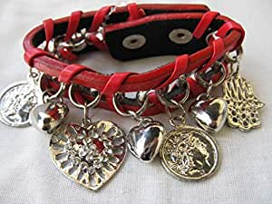 Red Faux Leather cuff strap with charms cb51