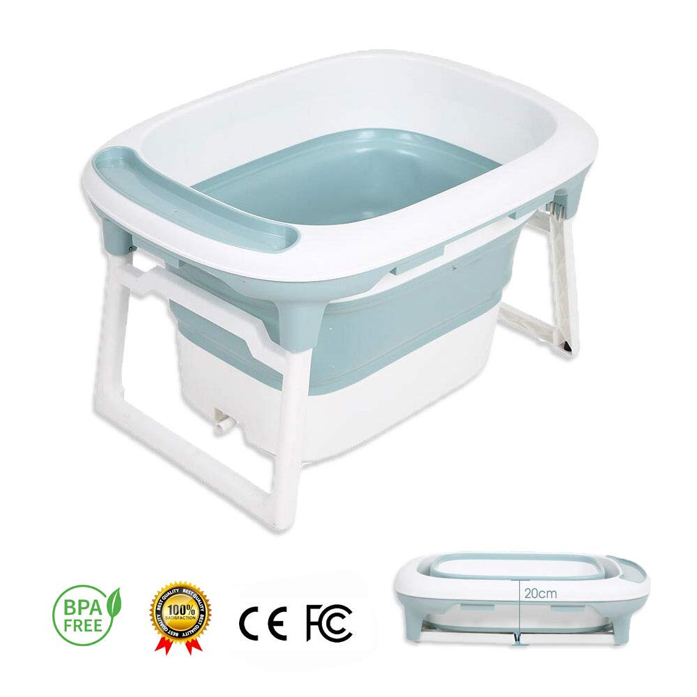 Baby Bathtub, LYASI 2 in 1 Foldable Bathtub with Safety Support Positions for Newborn Baby to 5 Ages Children (Blue) by LYASI