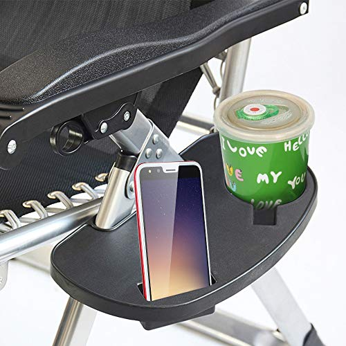 jxjarnet Clip On Side Table, Chair Side Tray with Mobile Device Slot, Lounge Chair Side Cup Holder and Snack Tray…