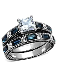 Marimor Jewelry Women's Stainless Steel 316 Cubic Zirconia Antique Design Wedding Ring Set
