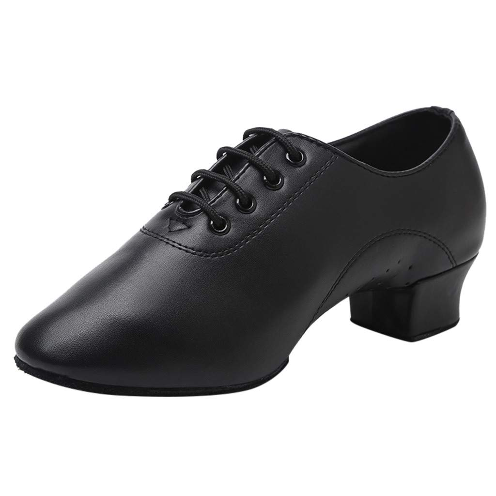 OFEFAN Women Girls Professional Lace-up Black Leather Latin Salsa Tango Ballroom Modern Dance Shoes