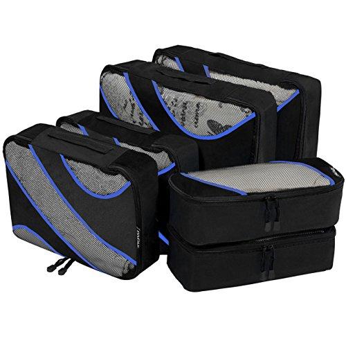 6 Set Packing Cubes 3 Various Sizes Travel Luggage Packing Organizers Black