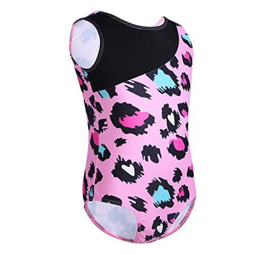 CHICTRY Fashionable Girls Leopard Print Tank Leotard for Gymnastics Dancing or Swimming Sports Pink 10-12