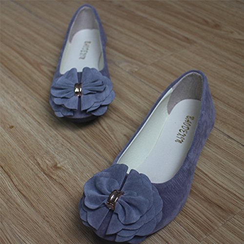 flowers Women's Gray color thin shoes shallow suede multi flat comfortable shoes pointed PPqrY