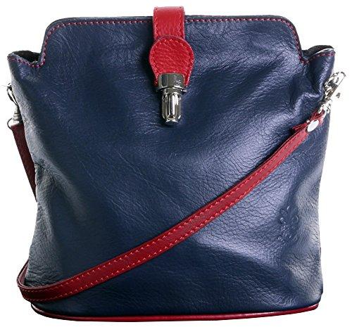 En cuir italien fait main petite autruche effet fermoir Front Croix corps ou sac à main.Comprend un sac de rangement protecteur marque. Marine & Rouge