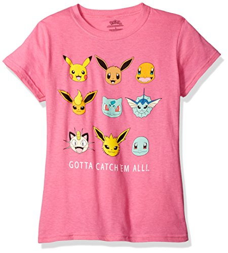 Pokemon Big Girls Gotta Catch Em All Short-Sleeved Tee, Hot Pink, S -