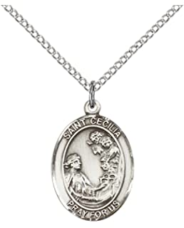 Sterling Silver St Cecilia Pendant 5//8 X 1//2 inches with 18 inch Sterling Silver Curb Chain