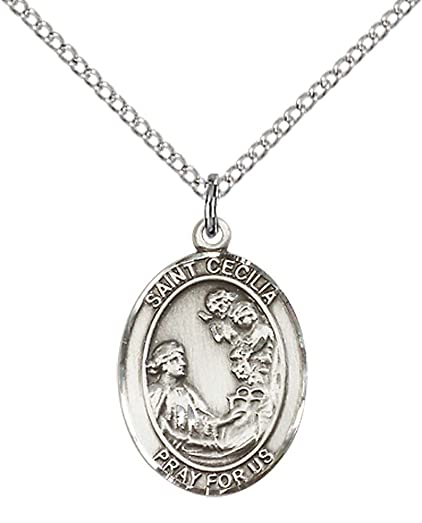Amazon sterling silver st cecilia pendant with 18 stainless sterling silver st cecilia pendant with 18quot stainless steel lite curb chain patron mozeypictures Choice Image