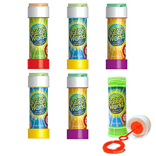 Bubble World Fun Bubble Bottles (6 Pack) Bubbles for Kids - Non-Toxic Bubbles with Built-In Wand for Mess-Free Play! -