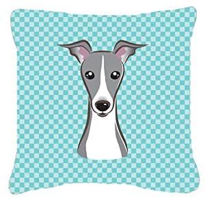 Tablero de ajedrez azul italiano Greyhound tela de lona almohada decorativa–BB1174PW1818
