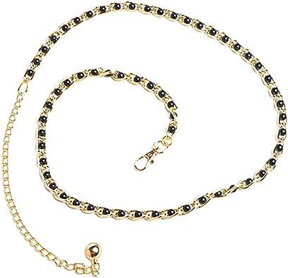 KaariFirefly Women Fashion Waist Belt Faux Pearl Thin Waist
