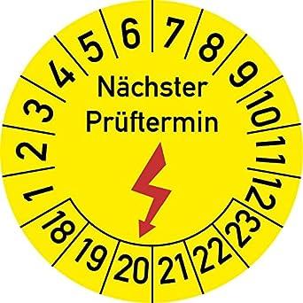 Elektroprü fung Nä chster Prü ftermin Prü fplakette, 100 Stü ck, in verschiedenen Grö ß en, Prü fetikett Prü fsiegel Plakette Elektro-Prü fung (20 mm Ø ) Rosenbaum Offsetdruck