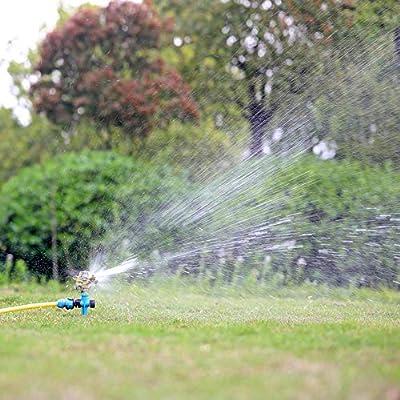 YD-outdoor Aspersor de jardín Spike Lawn Grass, Boquilla de Agua giratoria Ajustable de 360 Grados, Pulverizador de impulsos en tándem para Sistema de riego,A: Amazon.es: Deportes y aire libre