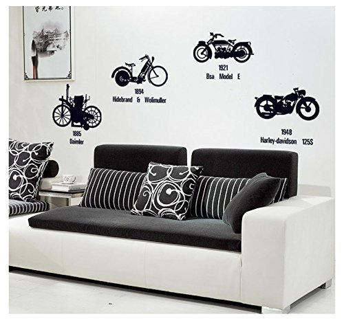 Fangeplus(TM) DIY Removable Large Black 1885 Daimler 1894 Hildebrand&wolfmuller 1921 BSA Model E 1948 Harley-davidson 4 Classical Motorcycles Art Mural Vinyl Waterproof Wall Stickers Bedroom Room Decor Livingroom Decal Sticker Wallpaper 55.1''x15.7'' - Wall Mural Model