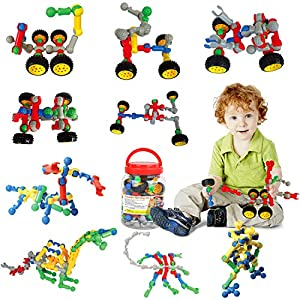 Meland STEM Toys for Boys Girls - Construction Engineering Building Set STEM Learning Toys Gift for Kids Age 3 4 5 6 7 and More (Sockets Building Set)